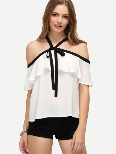 Size Available: XS,S,M,L Fabric: Fabric has no stretch Season: Summer Pattern Type: Patchwork Sleeve Length: Half Sleeve Color: White Material: Polyester Style: Cute Collar: Halter Decoration: Ruffle
