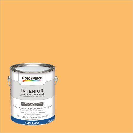 ColorPlace Interior Paint, Summer Lily Orange #08YY 56/528 Semi-Gloss 1 Gallon (Base UPC 0113118432909) Color Summer Lily Orange