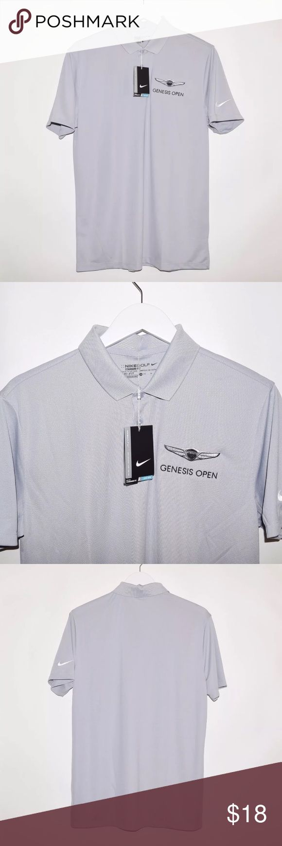 Nike Golf Standard Fit Dri-Fit Polo Shirt Brand: Nike Golf Item name: Men's Standard Fit Dri-Fit Polyester Polo Shirt w/ Genesis Open logo embroidered on chest   Color: Grey Material: Polyester Condition: New w/ tags. Size: Men's Medium Measurements: Pit to Pit - 21 inches Neckline to bottom - 29 inches Nike Shirts Polos