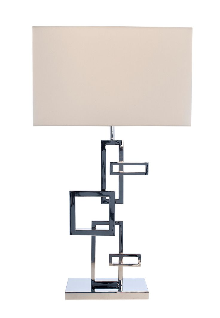 The Deandre Squares Lamp & Shade by RV Astley boasts a frame finish in chrome/nickel, with a cream light shade. Part of the Deandre range, this beautiful floor lamp is the perfect compliment to a minimalist living room.