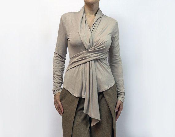 blousebeige blouseknitted blousecravatlong by AnnaPerena on Etsy, $60.00