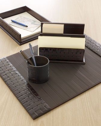 Woven Leather Desk Accessories at Horchow.
