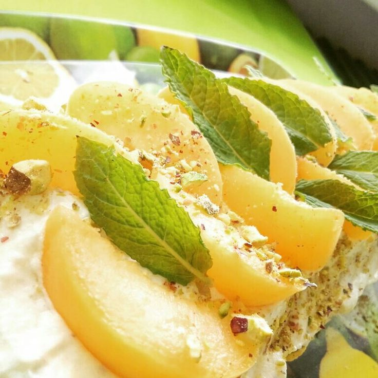 Apricot-pistachio roll cake with mint