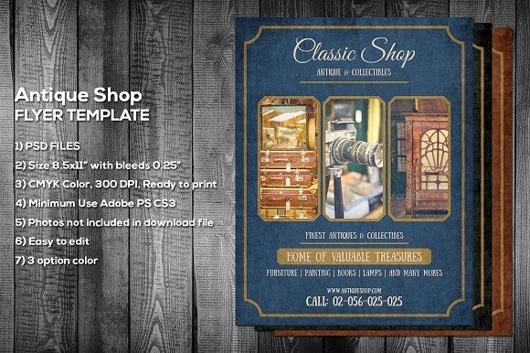 Antique Shop Flyer Template by meisuseno on @creativemarket