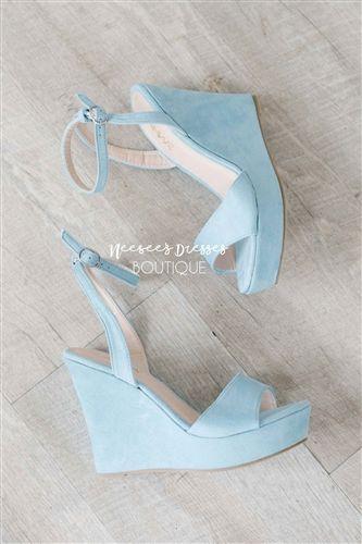 56644202e28e Cute Dusty Blue Wedges