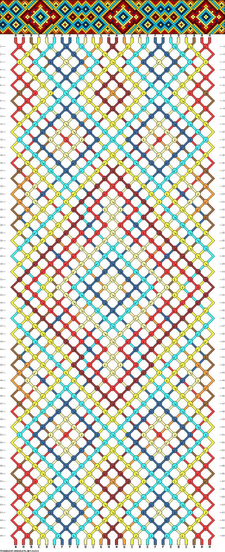 Friendship bracelet pattern - diamonds, squares, stars - 26 strings, 8 colors