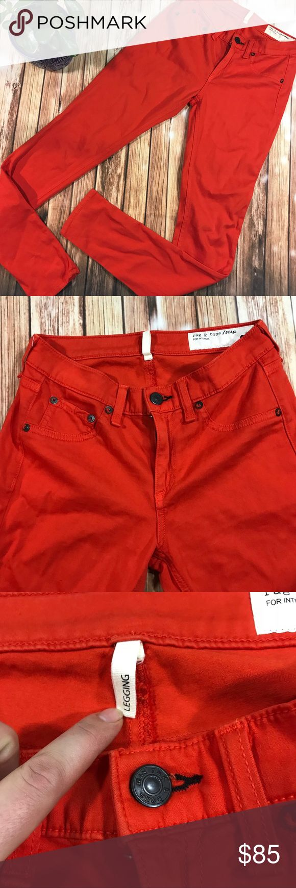 Rag and Bone fire red jeans New without tag, never been worn. Gorgeous bright fire engine road color. Stretchy leggings pants amazing soft mix of cotton and modal mix. Size 26 ankle length. rag & bone Pants Leggings
