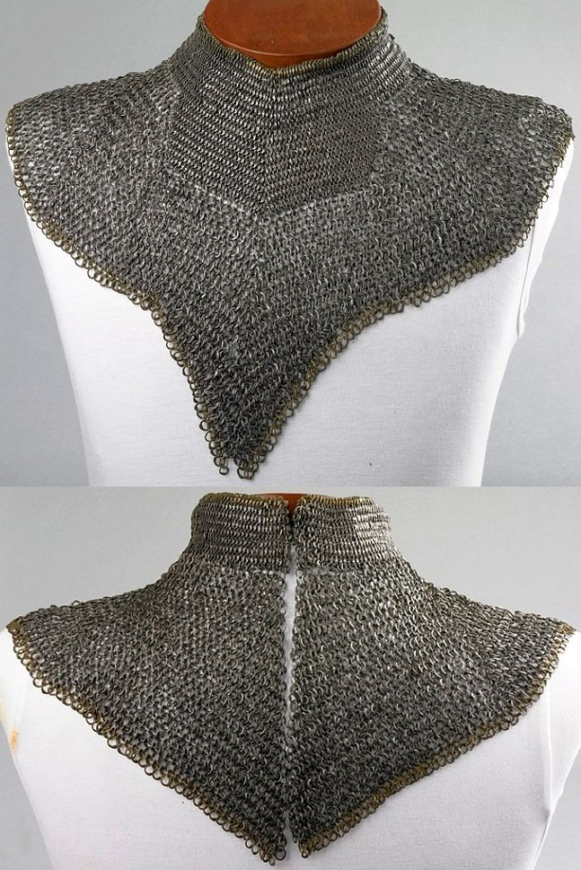 European riveted mail collar / standard, late 15th century, iron or steel and copper alloy, length: 73.7 cm, weight: 0.85 kg, The Wallace Collection (A9). The gaps between the links are also so narrow that the links themselves cannot rotate, but are held fast by their neighbours.