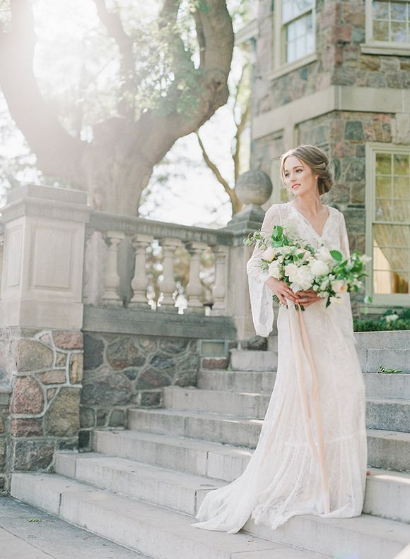 "It really doesn't get much more romantic than this! Inspired by the beautiful historic GRAYDON HALL in Toronto, VASIA PHOTO + ARTIESE STUDIOS took advantage of the gorgeous English style gardens and the stonework of the buildings for this shoot. ""We wan"