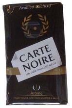 CARTE NOIRE COFFEE $9.90  PRODUCT DESCRIPTION  This flavorful ground coffee is a French favorite made of carefully roasted Arabica beans. The French love it for its full, well-balanced taste.  The packaging of Carte Noire coffee is designed to keep its aroma intact.  225 grams / 7.9 oz