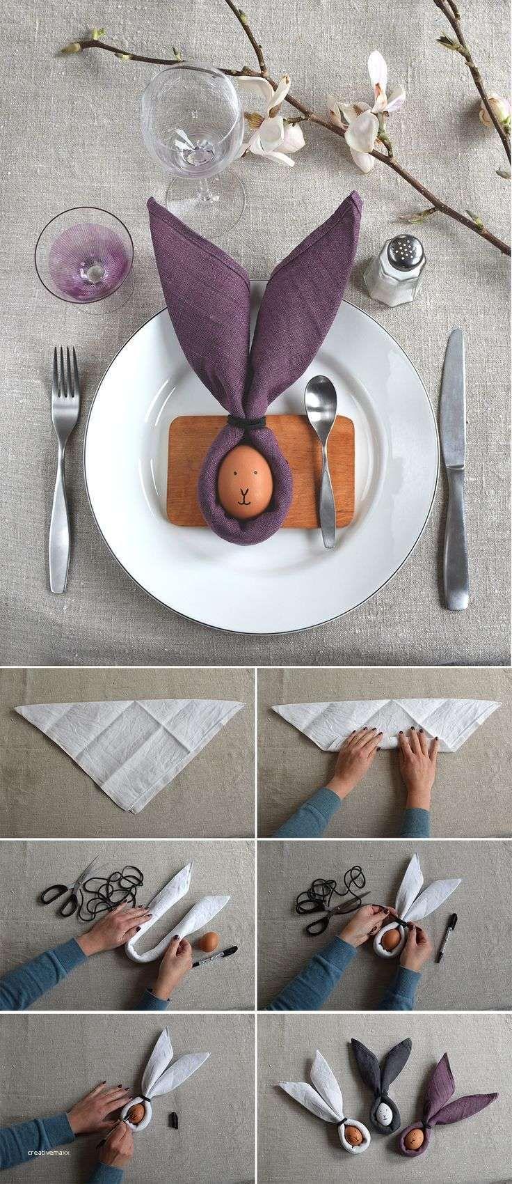 Napkin and egg easter bunny table setting för easter