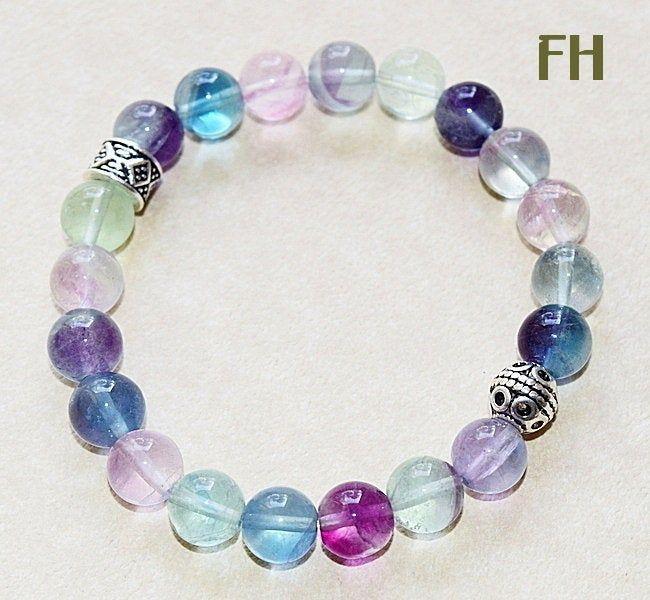 Fluorite Crystal Gemstone Bracelet Elasticated Boho Jewellery