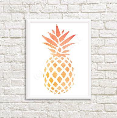 Orange Watercolor Pineapple Digital Print 8 x 10 by owlHouseINK on Etsy