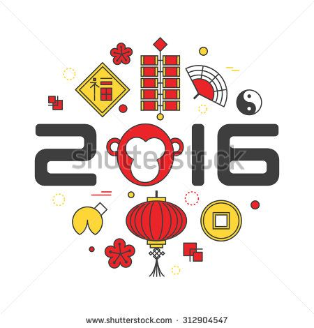 Vector concept of the year of the Monkey isolated on white background. Chinese New Year 2016. Thin line flat design. Translation of Chinese character: prosperity.