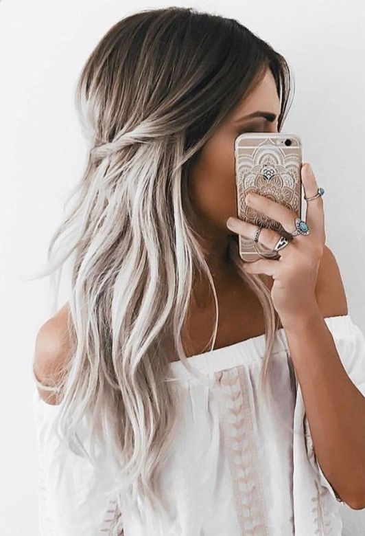 Wavy Hairstyle with Twisted Halo on Black & Grey Ombré Hair