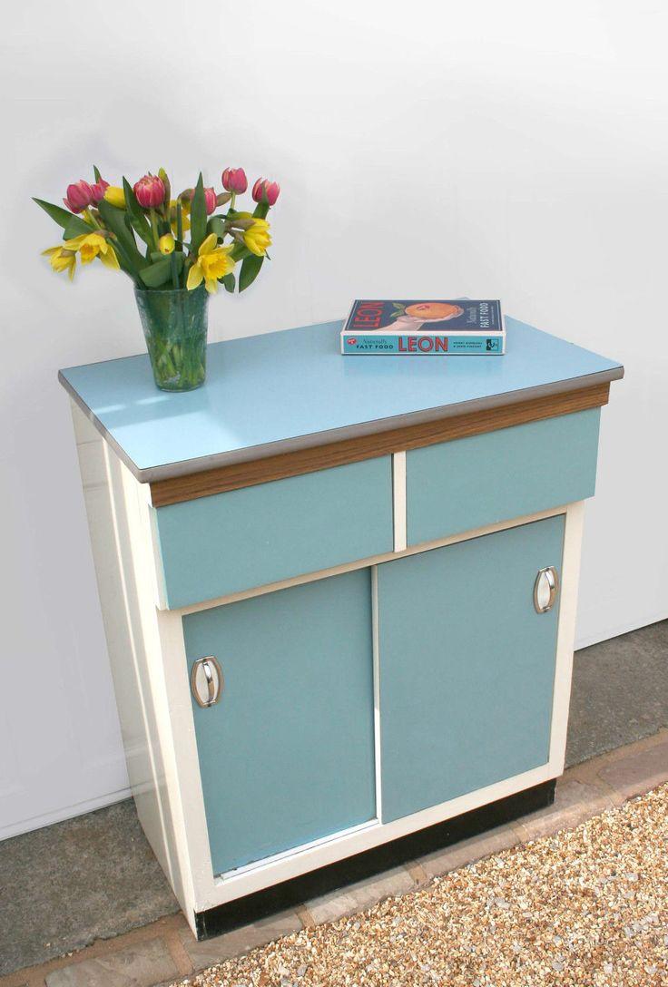 Retro Vintage Blue Kitchen Cupboard Cabinet Larder Kitchenette 1950s 1960s in Home, Furniture & DIY, Furniture, Cabinets & Cupboards | eBay