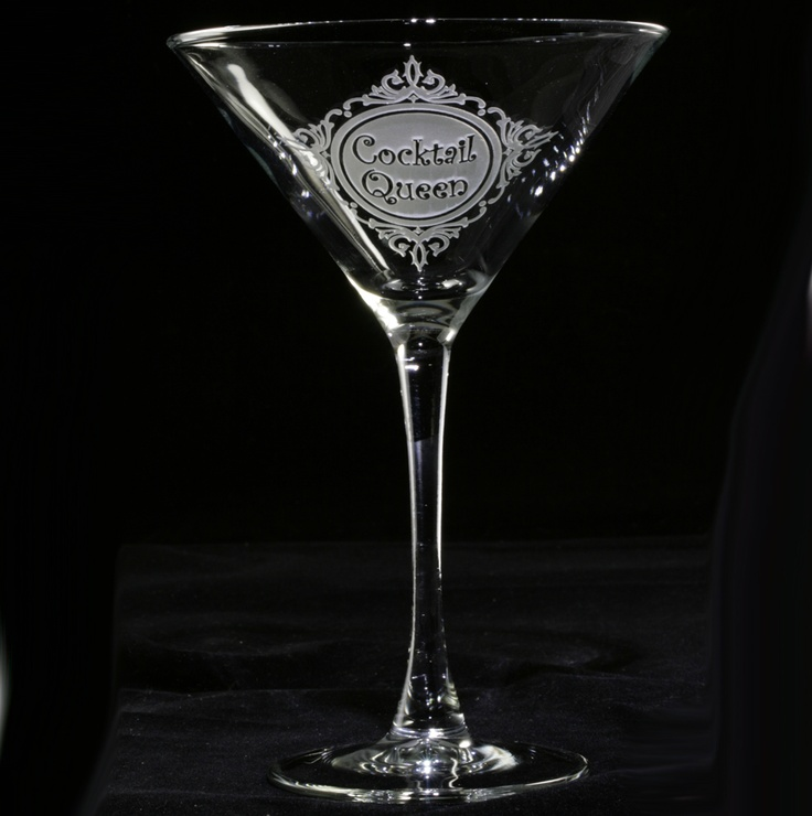 Cocktail Queen Martini Glass. Personalized glasses. Engraved barware at Crystal Imagery.