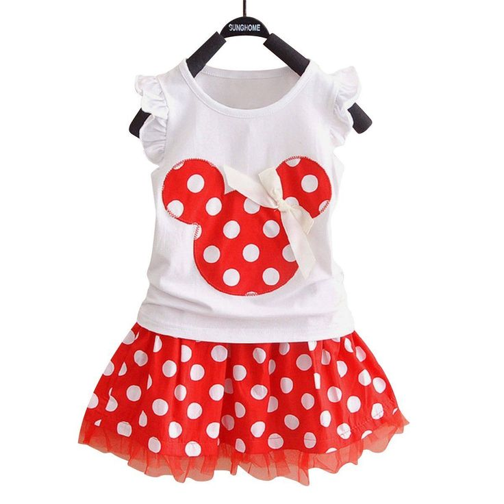Toddler Kids Baby Girls Kids Summer Outfits Princess Clothes Set Polka Dot Mouse T Shirt Tops Mesh Skirt Dress 2PCS Suit #Affiliate