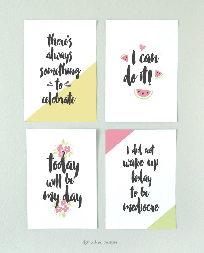 Free Morning Motivational Printables -  Clementine Creative | DIY Printable Stationery