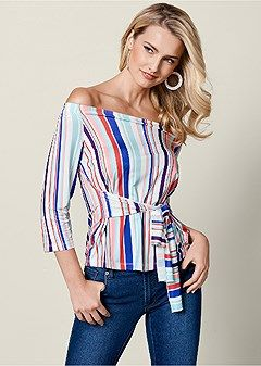 5021cd43b8a stripe off the shoulder top | Sunsational summer dresses in 2019 | Tops,  Colored skinny jeans, Blue