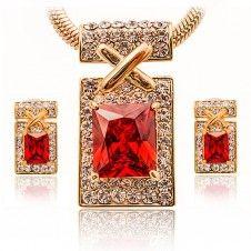 Set bijuterii unicat Safiria cu cristale Zirconiu culoare Rubin si placate cu aur galben 18k