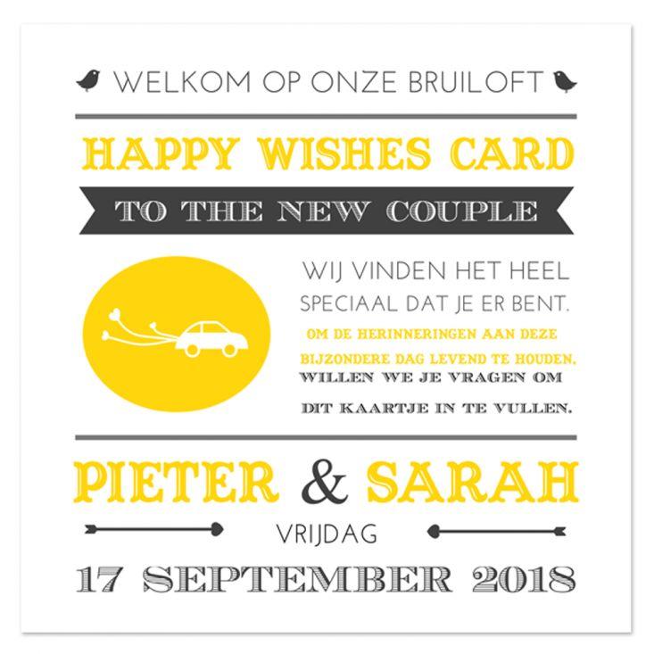 NIEN // Zet jouw wensen voor het bruidspaar op de achterzijde van deze Happy Wishes Card