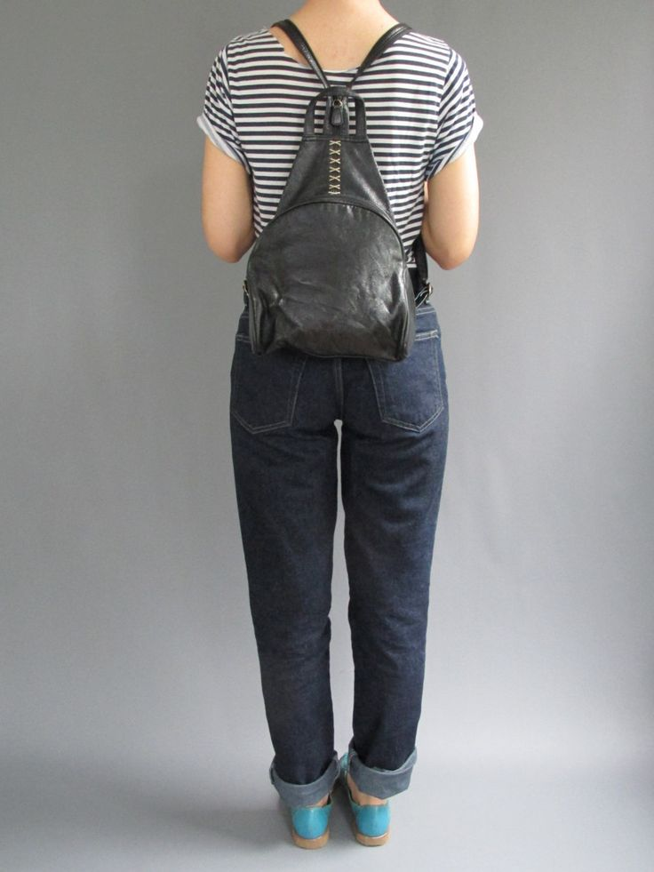 New to ColonyVtg on Etsy: Small Black Backpack - Vintage 90s Black Vegan Leather Backpack - Triangle Black Leather Backpack - 1990s Mini Backpack - Festival Backpack (32.00 USD)