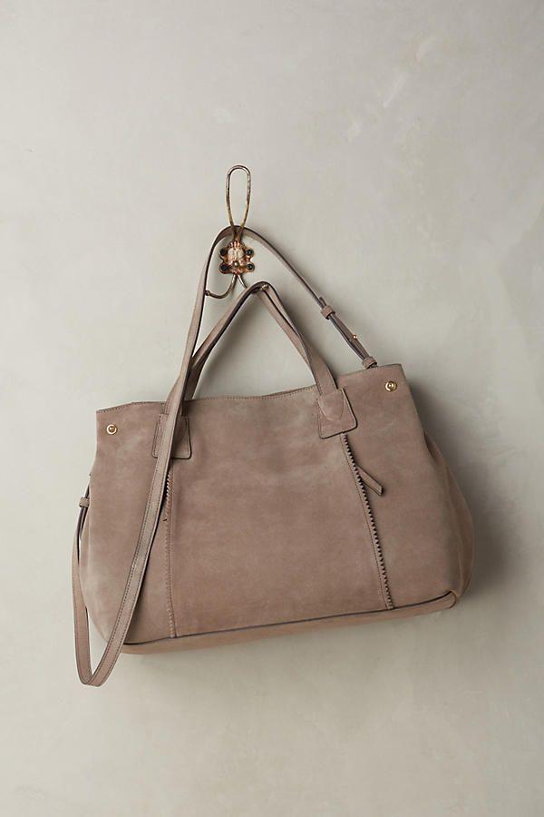 NEW Anthropologie Miss Albright Quade Satchel Handbag Bag Grey Suede Large NWT #AnthropologieMissAlbright #Satchel