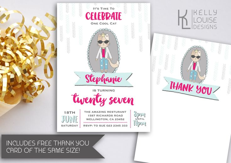 Cool Cat Birthday Invitation | Printable Invitation | Chic Birthday Invitation | Fashionista | Teenage Girl Invitation | Chic Invite (182) by kellylouisedesigns on Etsy