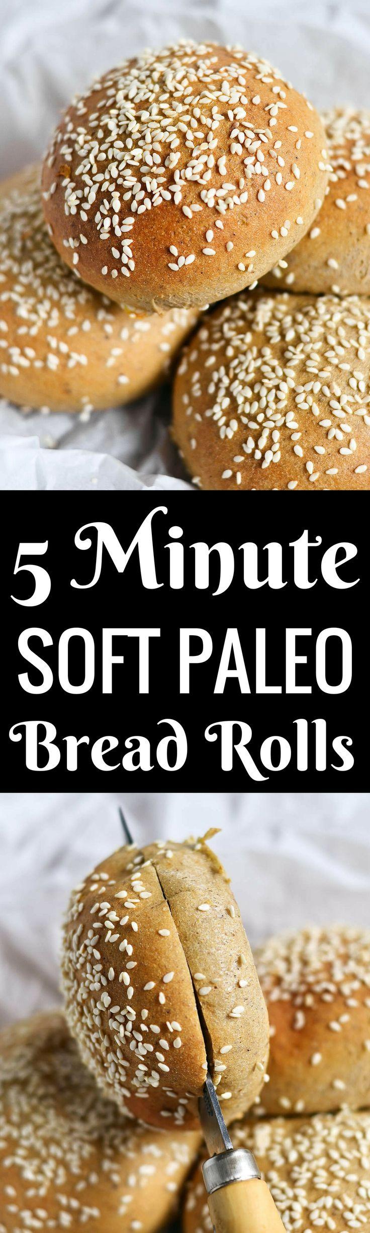 5 Minute Fluffy Flourless Soft Paleo Bread Rolls [Hamburger Buns]