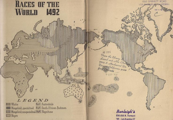 """""""Races of the World 1492"""" from Mankind So Far by William W.Howells, 1947."""