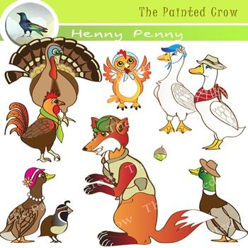 This Henny Penny (also known as Chicken Little) clipart set includes all 9 characters from the folktale, plus the acorn that started the whole kerfuffle in the first place. The clip art pack includes 10 JPEG color version, 10 JPEG grayscale version and 10 PNG color version illustrations.