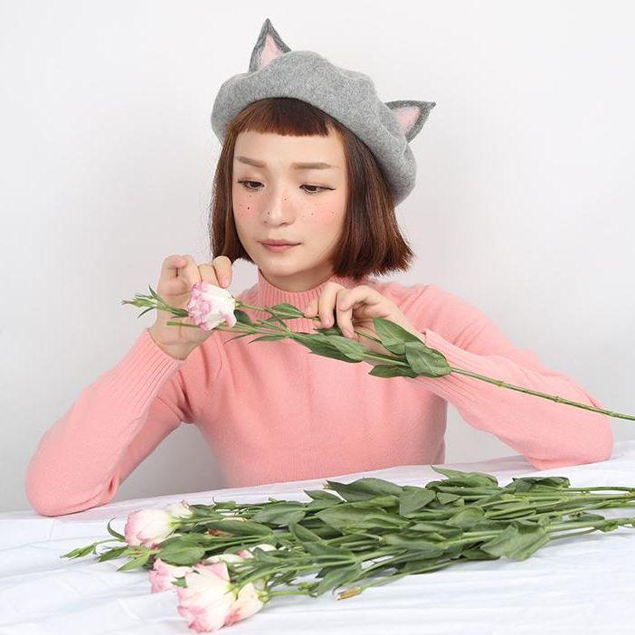 Cute handmade woolen rabbit girl ear cap YV16034