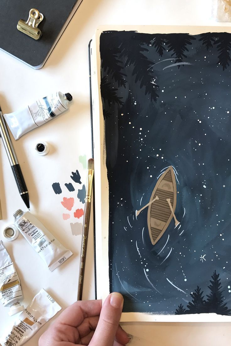 Starry Lake Canoe – #Canoe #ilustration #Lake #Sta…