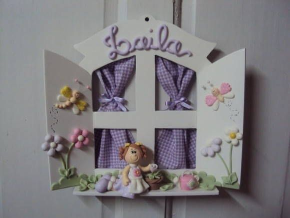 Enfeite de porta para quarto ou maternidade decorado em biscuit (cores e detalhes podem ser alterados) ...