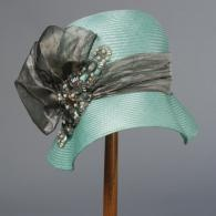 this hat makes me long for spring, and a trim grey and aqua dress