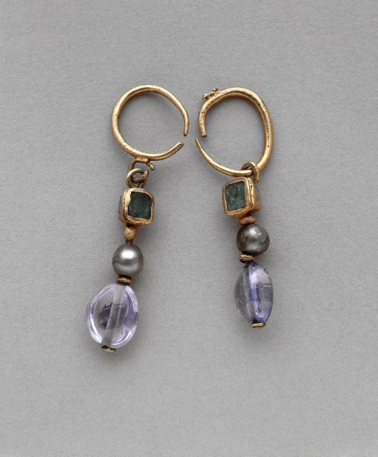 Emerald, pearl, and sapphire earrings, made in the 4th century and found at the Hill of St Louis in Carthage