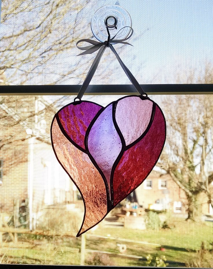 Heart Stained Glass Suncatcher Pink And Purple Heart