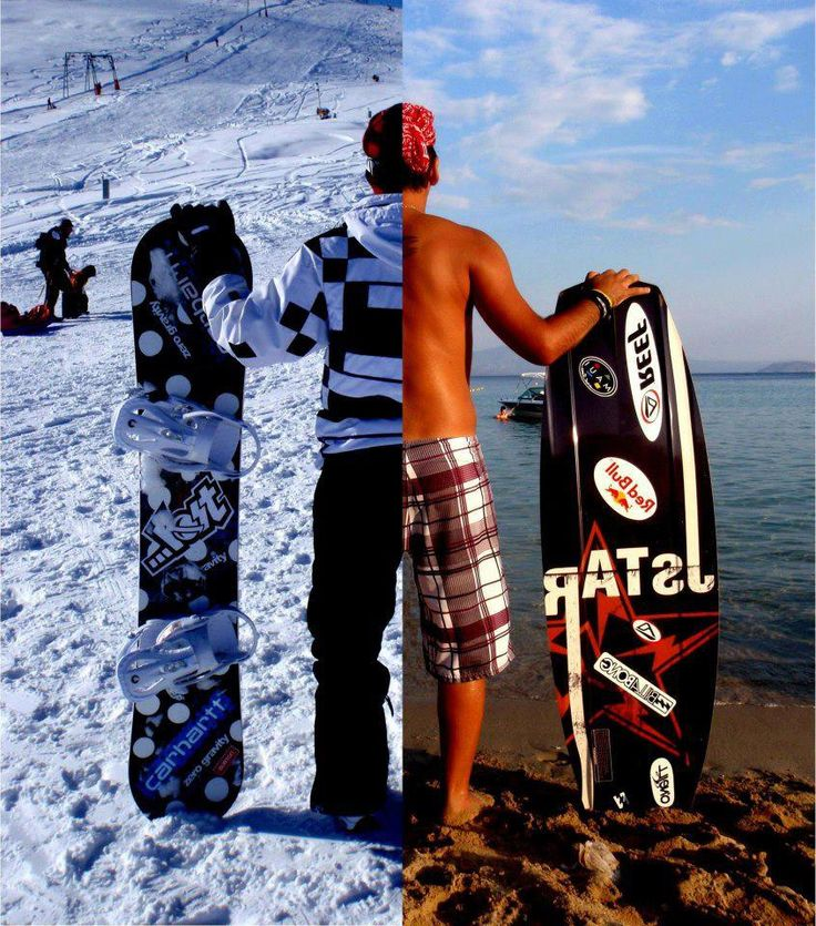 Half and half photo of surfing and snowboarding. Great idea for people who love more than one sport.