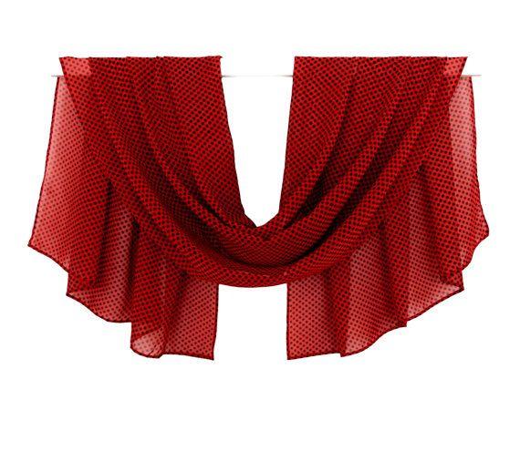 Dark Red Scarf, black polka dots, Chiffon Scarf, Print Scarf, Silk Scarf, Spring Scarf, Summer Scarf, Pattern Scarf, Blanket Scarf, Scarves