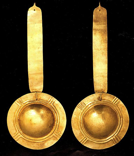 Pair of Ear Pendants  Date: 13th–16th century Geography: Colombia Culture: Sonso Medium: Gold