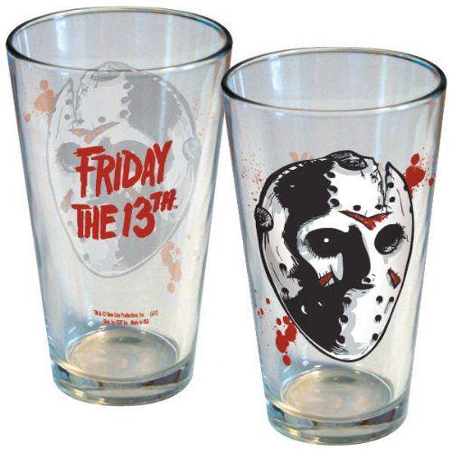 FRIDAY the 13th JASON MASK 16 oz. LITHO Collector Series Glass (1 pint -- 5 3/4 Tall) @ niftywarehouse.com #NiftyWarehouse #Horror #Movies #FridayThe13th #Jason