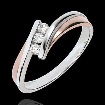 mariages Bague de fiançailles Parfum d'aurore - Trilogie diamant - or rose, or blanc - 3 diamants
