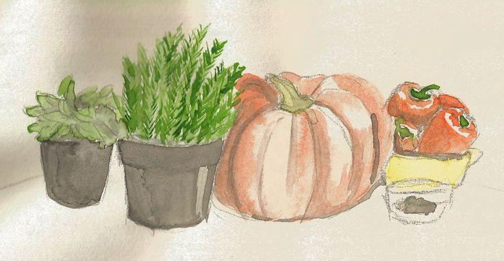 watercolour vegetables