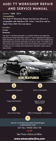 Audi TT Workshop Repair And Service Manual. It uses comprehensive diagrams, in depth illustrations, accurate, clear and concise text, with all the manufacturers specifications and technical information you will ever need.