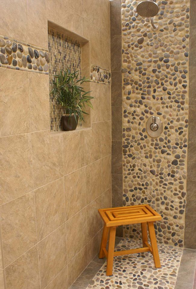 gorgeous river rock shower using our polished cobblestone pebble tile and border tile love river - Shower Wall Tile Design