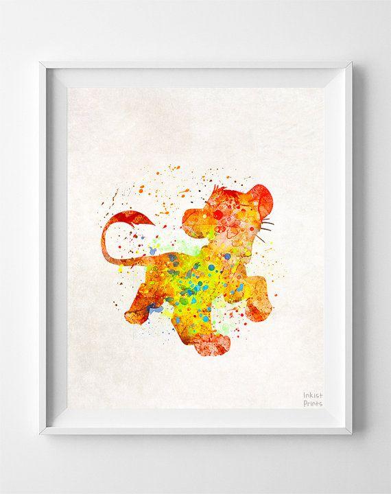 Simba Print, Lion King Watercolor Art, Type 2, Disney Poster, Children Room Art, Children Room Prints, Bedroom Decor, Christmas Gift