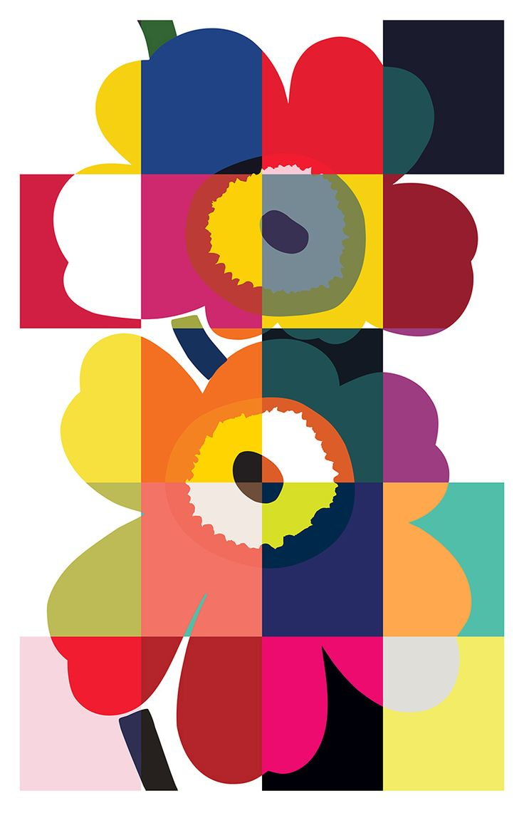 Marimekko takes a stand on power of expression with an Unikko pattern place in Milan during design week. Find us at Spazio Rossana Orlandi, Via Matteo Bandello 14/16, 20123, Milan 8–13 April daily 9 AM–8 PM. / The range of Unikko colourways seen in the Milan installation represent the versatility and boldness that the pattern has had during each of the five past decades. #Marimekko #Unikko50 #salonedelmobile