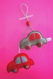 kasthanger auto grijs / rood