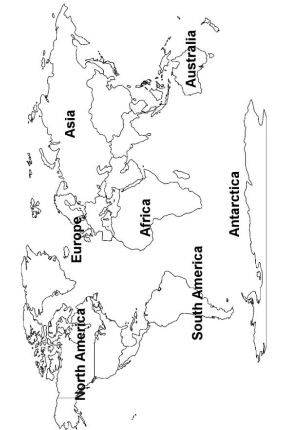 Free World Continents Map Printout with and without labels